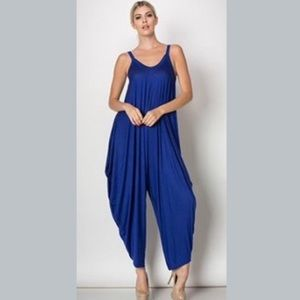 Love In NWT Harem Style Jumpsuit Romper Blue